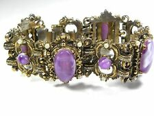 Vintage Selini Unsigned Bracelet Purple Swirl Thermoset Chunky Safety Chain