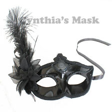 Venetian Black Metallic Plastic with Ostrich Feather Costume Masquerade Mask