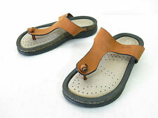Ecco Sandals Womens 36 5.5 Orange Brown Nubuck Thong Comfort Flat Slides Walking