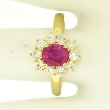 18k Yellow Gold 1.72ctw Cluster Ring w/ Oval Red Ruby & Brilliant Diamond Halo