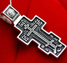 Old Believer Russian Orthodox Christian Crucifix. Prayer. Sterling Silver 925.