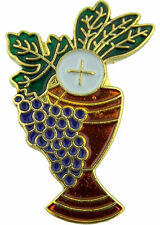 "Chalice & Grapes Enamel 1st First Communion 1"" Pin for BOY or GIRL ""Carded"""