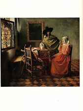 """1981 Vintage VERMEER """"THE GLASS OF WINE"""" GORGEOUS COLOR offset Lithograph"""