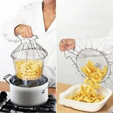 New Chef Cooking Basket Colander Fry Folds Flat Strainer Net Washable Sieve - 6A