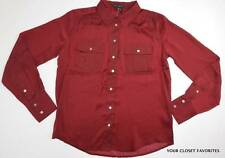 New Willi Smith Women's M Dark Red Button Down Front Shirt Top