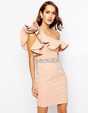 Forever Nude Unique Frill Pencil Dress with Embellished Waist One shoulder UK 10
