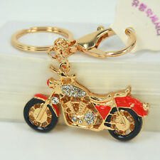 Red Motorcycle Sport Keyring Rhinestone Crystal Pendant Bag Women Key Chain Gift
