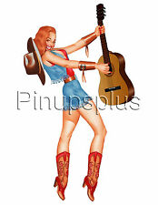 pin-up Pinup Girl waterslide decal Sticker Retro Cowgirl strumming Guitar S843