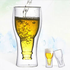 Creative 350ml Double Wall Glass Cup Office Home Beer Water Tea Drinking Glasses