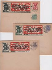 Stamps Germany 1919 Frankfurt exhibition set of 3 pre-printed covers various day