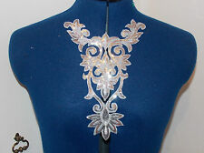 silver sequin HOTFIX embroidered lace YOKE chest applique motif costume asian