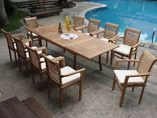 """Sam Grade-A Teak 11pc Dining 117"""" Rectangle Table 10 Stacking Arm Chair Set New"""