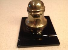 Vintage Inkwell Brass Lidded On Black Glass W/ Quill HOlder and Glass Insert
