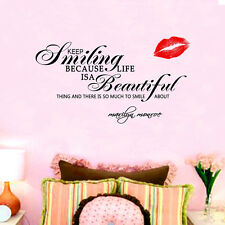 MARILYN MONROE Saying Keep Smiling Life is Beautiful Wall Stickers Decals Décor