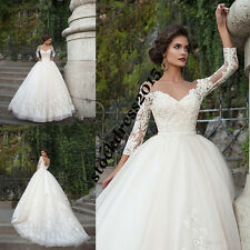 Sheath Ball Wedding Dress Lace Applique Corset Long Sleeve Backless Bridal Gown