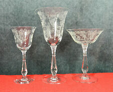 """8-PIECES OF TIFFIN'S BEAUTIFUL """"CHEROKEE ROSE"""" PATTERN STEMWARE/GOBLETS"""