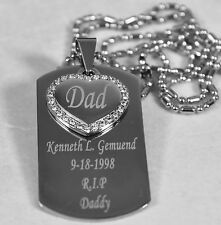 MEMORIAL HEART CHARM CZ BLING STAINLESS  DOG TAG NECKLACE CUSTOM PERSONALIZE