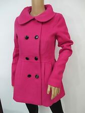 Dark Pink Empire Waist Double Breasted Pea Coat Slim Fit Coat Size M