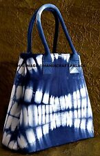 Canvas Handbag Shoulder Purse Tote Women Tie Dye Messenger Bag Indigo Blue Bag