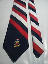 Olympics L A 1984 Men's Vintage Tie in Red White and Blue with Games Mascot Sam
