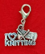 "I LOVE KNITTING ANTIQUE SILVER CHARM  W/LOBSTER CLASP-ALLOY-YARN-1/2""X3/4"""