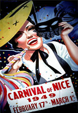 Retro Vintage Carnival of Nice 1949 Deco A3 Travel Art  Poster Print
