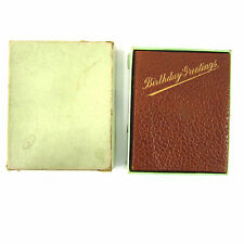 Antique Diary Journal Leather Cover Gilt Box Birthday Greetings 1916 Vintage