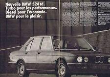PUBLICITE ADVERTISING 045 1984 BMW le nouvelle 524 td (2 pages)