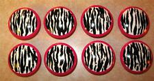 Set of 8 - ZEBRA Design with HOT PINK Edge Dresser Drawer Knobs