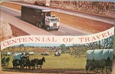 Vintage Postcard CENTENNIAL OF TRAVEL Covered Wagons to Cattle Trucks Fulton