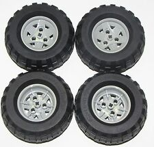 LEGO LOT OF 4 81.6 X 38R BALLOON TIRES WITH GREY 3 PINHOLE HUBS CAR TRUCKS