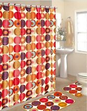 15 Piece Set shower curtain ,12 fabric matching hooks,bath mat,contour