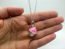 Cupcake Charm Necklace TIFFAN Style Sterling Silver `18` inch Chain New