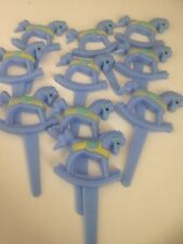 6 Blue Rocking Horses Cupcake Toppers /Baby Shower/ Birthday  /retro sweets