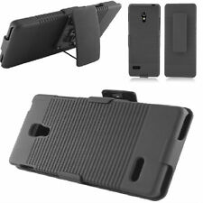 LG Optimus L9/P769 - BLACK RUGGED HYBRID HARD CASE Cover+STAND BELT CLIP HOLSTER