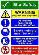 Site Safety Sticker Construction Site Signs Sticker Site Safety Warning A4