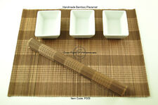 6 Handmade Bamboo Wood Placemats Table Mats, Black-Brown, P009