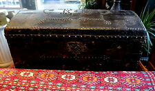 "Antique 19th Century Ebonised ""Treasure"" Chest Leather Metal on Wheels"