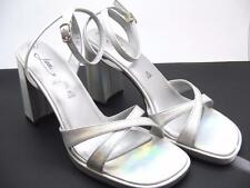 $65 Fiona Silver Metallic Shiny Faux Leather Platform Strappy High Heel Shoes 9