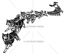100 PROOF PRESS RUBBER STAMPS SLED DOGS STAMP