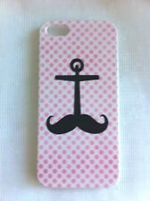 Anchor Moustache Pink Spots Art Printed iPhone 5 5s Case for Apple