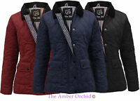 NEW LADIES QUILTED PADDED BUTTON ZIP JACKET WOMENS COAT TOP SIZE 8 10 12 14