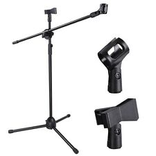 Microphone Stand Dual Mic Clip 360-degree Rotating Folding Type Boom Arm Tr