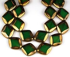 18pcs Green Bronze Irregular Electroplated Faceted Large Glass Beads 16x18mm