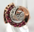 AVANT-GARDE RETRO LARGE 14CT ROSE GOLD, DIAMOND & SYNTHETIC RUBY RING VAL $3950