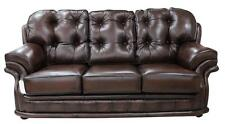 Chesterfield Knightsbridge 3 Seater Antique Brown Leather Sofa Settee