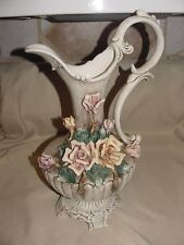 """Capodimonte Large Pitcher 19"""" Tall Made in Italy Marked Flowers Footed N Crown"""