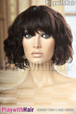 Cute Shaggy Wavy Human Hair Wig 100% Brazilian Remy Natural Black Brown Mix