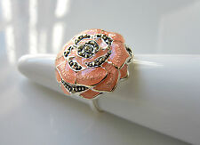 QVC Peach Pink Enamel & Marcasite Sterling Silver Ring UK Size N