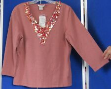 Couture NWT Trendy ALBERTO MAKALI Knit TOP Pinkish RUST w. Gorgeous BLING Sz XL